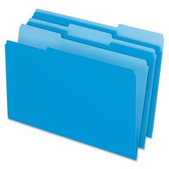 "Pendaflex Two-Tone Color File Folder - Legal - 8 1/2"" x 14"" Sheet Size - 1/3 Tab Cut - Assorted Position Tab Location - 11 pt. Folder Thickness - Blue - 100 / Box"