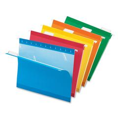"Pendaflex Reinforced Hanging Folders - Letter - 8 1/2"" x 11"" Sheet Size - 1/5 Tab Cut - Blue, Red, Orange, Yellow, Green - 25 / Box"