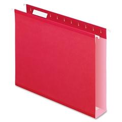 "Pendaflex Colored Box Bottom Hanging Folder - 2"" Folder Capacity - Letter - 8 1/2"" x 11"" Sheet Size - Folder - Pressboard - Red - 25 / Box"