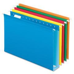 "Pendaflex Extra Capacity Box Bottom Hanging Folder - 2"" Folder Capacity - Legal - 8 1/2"" x 14"" Sheet Size - 1/5 Tab Cut - Poly, Pressboard - Bright Green, Blue, Orange, Red, Yellow - 25 / Box"