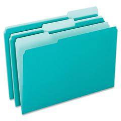 "Pendaflex Interior File Folder - Letter - 8 1/2"" x 11"" Sheet Size - 1/3 Tab Cut - Assorted Position Tab Location - Aqua - 100 / Box"
