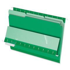 "Pendaflex Interior File Folder - Letter - 8 1/2"" x 11"" Sheet Size - 1/3 Tab Cut - Assorted Position Tab Location - Green - 100 / Box"