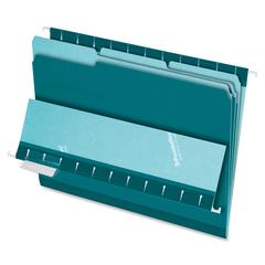 "Pendaflex 1/3-cut Tab Color-coded Interior Folders - Letter - 8 1/2"" x 11"" Sheet Size - 1/3 Tab Cut - Teal - 100 / Box"
