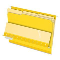 "Interior Folder - Letter - 8 1/2"" x 11"" Sheet Size - 1/3 Tab Cut - Yellow - 100 / Box"