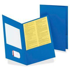 """Double Pocket Leatherine Portfolio - Legal - 8 1/2"""" x 14"""" Sheet Size - 150 Sheet Capacity - 2 Pocket(s) - Leatherine - Light Blue - 25 / Box"""