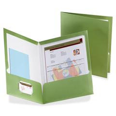 "Oxford Metallic Two Pocket Folders - Letter - 8 1/2"" x 11"" Sheet Size - 150 Sheet Capacity - 2 Pocket(s) - Green - 25 / Box"
