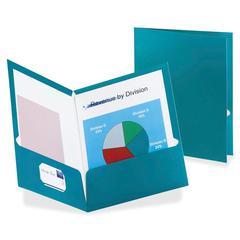 "Metallic Two Pocket Folder - Letter - 8 1/2"" x 11"" Sheet Size - 150 Sheet Capacity - 2 Internal Pocket(s) - Teal - 25 / Box"