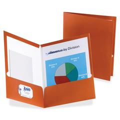 "Metallic Two Pocket Folder - Letter - 8 1/2"" x 11"" Sheet Size - 150 Sheet Capacity - 2 Pocket(s) - Paper - Copper - 25 / Box"