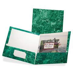 "Oxford Marble Laminated Portfolios - Letter - 8 1/2"" x 11"" Sheet Size - 100 Sheet Capacity - 2 Internal Pocket(s) - Paperboard - Emerald Green - 25 / Box"