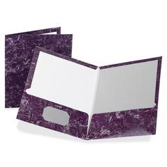 "Oxford Marble Laminated Twin Pocket Folders - Letter - 8 1/2"" x 11"" Sheet Size - 100 Sheet Capacity - 2 Internal Pocket(s) - Deep Purple - 25 / Box"
