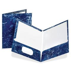 "Oxford Marble Laminated Twin Pocket Folders - Letter - 8 1/2"" x 11"" Sheet Size - 100 Sheet Capacity - 2 Internal Pocket(s) - Paperboard - Navy Blue - 25 / Box"