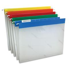 "Easy View Poly Hanging Folder - 9 1/4"" x 11 3/4"" Sheet Size - 1/5 Tab Cut - Assorted Position Tab Location - Poly - Blue, Yellow, Red, Orange, Green - 25 / Box"