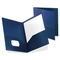 "Oxford Polypropylene Twin Pckt Portfolios - 8 3/4"" x 11 1/4"" Sheet Size - 2 Internal Pocket(s) - Polypropylene - Dark Blue - 1 / Each"
