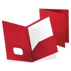 "Polypropylene Twin Pocket Portfolio - 8 3/4"" x 11 1/4"" Sheet Size - 2 Internal Pocket(s) - Polypropylene - Red - 1 / Each"