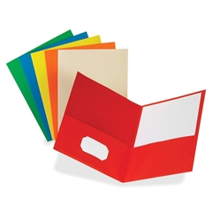 "Oxford Twin Pocket Folders - Letter - 8 1/2"" x 11"" Sheet Size - 100 Sheet Capacity - 2 Internal Pocket(s) - Leatherette Paper - Blue, Green, Yellow, Orange, Red - 25 / Box"