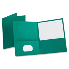 "Oxford Twin Pocket Folders - Letter - 8 1/2"" x 11"" Sheet Size - 100 Sheet Capacity - 2 Internal Pocket(s) - Leatherette Paper - Teal - 25 / Box"