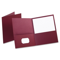 "Oxford Twin Pocket Folders - Letter - 8 1/2"" x 11"" Sheet Size - 100 Sheet Capacity - 2 Internal Pocket(s) - Leatherette Paper - Burgundy - 25 / Box"