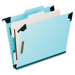 """Hanging Classification Folder - Letter - 8 1/2"""" x 11"""" Sheet Size - 2"""" Expansion - 2 3/4"""" Fastener Capacity for Folder - 1 Divider(s) - 25 pt. Folder Thickness - Pressboard - Blue - 1 Each"""