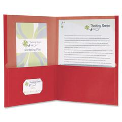 "Oxford EarthWise Recycled Twin Pocket Folders - Letter - 8 1/2"" x 11"" Sheet Size - 100 Sheet Capacity - 2 Pocket(s) - Red - 25 / Box"