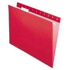 "Essentials Colored Hanging Folder - Letter - 8 1/2"" x 11"" Sheet Size - 1/5 Tab Cut - Red - 25 / Box"