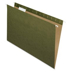 "Essentials Standard Green Hanging Folders - Legal - 8 1/2"" x 14"" Sheet Size - 1/5 Tab Cut - Standard Green - 25 / Box"
