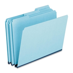 "Pendaflex Pressboard File Folder - Letter - 8 1/2"" x 11"" Sheet Size - 1"" Expansion - Ring Fastener - 1/3 Tab Cut - Assorted Position Tab Location - 25 pt. Folder Thickness - Pressboard - Blue - 25 / B"