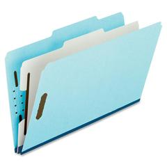 "Pendaflex Pressboard Partition Folders - Legal - 8 1/2"" x 14"" Sheet Size - 1"" Expansion - 2 Fastener(s) - 1 Divider(s) - 25 pt. Folder Thickness - Pressboard - Blue, Gray - 10 / Box"