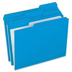 "Pendaflex Color Reinforced Top File Folders - Letter - 8 1/2"" x 11"" Sheet Size - 1/3 Tab Cut - Assorted Position Tab Location - 11 pt. Folder Thickness - Blue - 100 / Box"