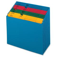 """Pendaflex QuickView Monthly Desktop Project File - 11"""" x 12"""" Sheet Size - 12 Pocket(s) - Paper - Blue - 15.52 oz - 1 Each"""