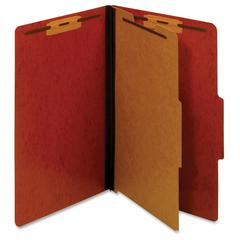 "Pendaflex Legal Classification Folders - Legal - 8 1/2"" x 14"" Sheet Size - 1"" Fastener Capacity for Folder - 1 Divider(s) - 25 pt. Folder Thickness - Pressboard - Red - Recycled - 1 Each"