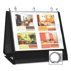 "Insta-Cover Ring Easel Binder - 3/4"" Binder Capacity - Letter - 8 1/2"" x 11"" Sheet Size - 3 x Round Ring Fastener(s) - 40 Pocket(s) - Black - Recycled - 1 Each"