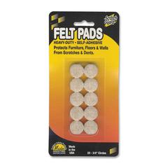 "Master Caster Scratch Guard Felt Pads - 20 Pad of 0.75"" Diameter - Circle - Self-adhesive - Beige - Polyester - 20/Pack"