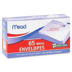 "Mead No.6.75 All-purpose White Envelopes - Business - #6 3/4 - 3.63"" Width x 6.50"" Length - Self-sealing - 65 / Box - White"