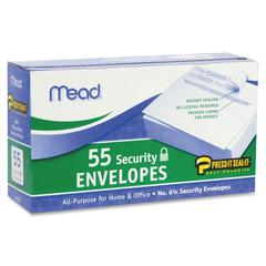 Mead Security Envelopes - Security - #6 3/4 - Peel & Seal - 55 / Box - White