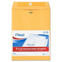 "Mead Heavyweight Brown Kraft Clasp Envelopes - Clasp - #90 - 9"" Width x 12"" Length - Kraft - 4 / Pack - Brown"