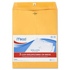 "Mead Heavyweight Brown Kraft Clasp Envelopes - Clasp - #97 - 10"" Width x 13"" Length - Kraft - 3 / Pack - Brown"