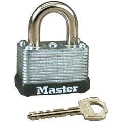 "Master Lock 1-1/2"" Wide Warded Padlock - Keyed Different - Steel Shackle, Laminated Steel - Silver"