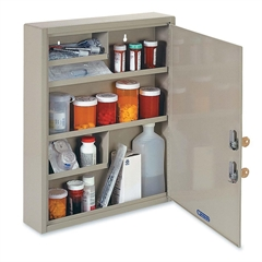 "MMF Medical Security Cabinet - 14"" x 3.1"" x 17.1"" - 4 x Shelf(ves) - Security Lock - Sand - Steel - Recycled"