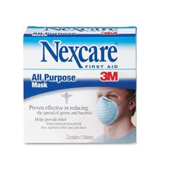 All Purpose Filter Mask - Dust, Bacteria, Ragweed Pollen Protection - Rayon Fiber, Polyester, Staple Fiber - White - 5 / Box