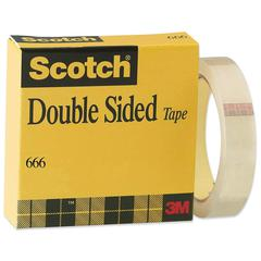 "Scotch Double Sided Tape with Liner - 1"" Width x 36 yd Length - 3"" Core - Permanent Adhesive Backing - Removable, Non-yellowing, Photo-safe, Glossy - 1 / Pack - Clear"