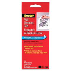 "Scotch Removable Wall Mounting Tabs - 0.50"" Width x 0.75"" Length - Foam - Open-cell Foam Backing - Removable, Double-sided - 48 / Pack - Gray"