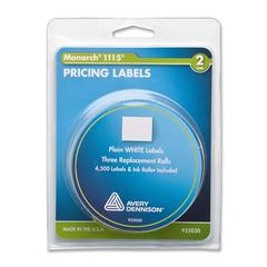 """Monarch Pricemarker Labels - 4.11"""" Width x 3.14"""" Length - 3 / Roll - White - 3 / Pack"""