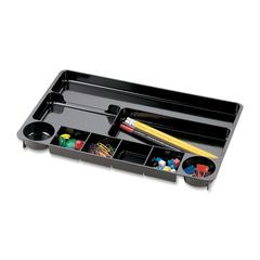 "OIC Nine Compartment Drawer Organizer Tray - 9 Compartment(s) - 1.1"" Height x 14"" Width x 9"" Depth - Drawer - Black - 1Each"
