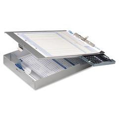 "OIC Aluminum Top-Loading Clipboard w/Calc. - 1"" Clip Capacity - Storage for Stationary - 8.50"" x 12"" - Clamp - Aluminum - Silver"