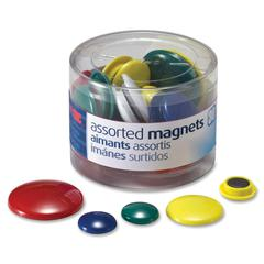 OIC Round Handy Magnets - 30 Magnet - Assorted - Magnet - 30 / Pack