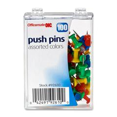 "OIC Plastic Precision Push Pins - 0.5"" Length x 0.3"" Diameter - 100 / Box - Assorted - Plastic, Steel"