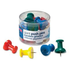 "OIC Giant Push Pin - 1.5"" Length - 12 Pack - Assorted"
