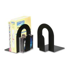 "OIC Steel Construction Heavy-Duty Bookends - 9"" Height x 7.8"" Width x 7.8"" Depth - Desktop - Black - Steel - 2 / Pair"