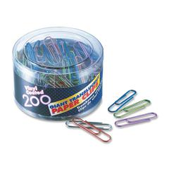 Translucent Vinyl Paper Clips - Giant - 200 / Pack - Blue, Red, Green, Silver, Purple - Vinyl