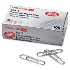OIC Paper Clips - No. 1 - 1000 / Pack - Silver - Steel
